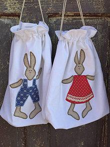 Úžitkový textil - vrecúška zajko + zajkuľka - 13046830_