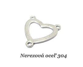 Komponenty - Konektor srdce /M7066/ - nerezová oceľ 304 - 13049720_