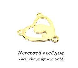 Komponenty - Konektor srdce s madonou /zlatá farba/  /M7067/ - nerezová oceľ 304 - 13049892_