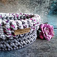 Košíky - Rose & Stone | malý háčkovaný košík - 13050875_