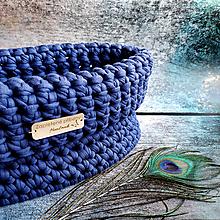 Košíky - Indigo Moon   štýlový háčkovaný košík - 13051090_