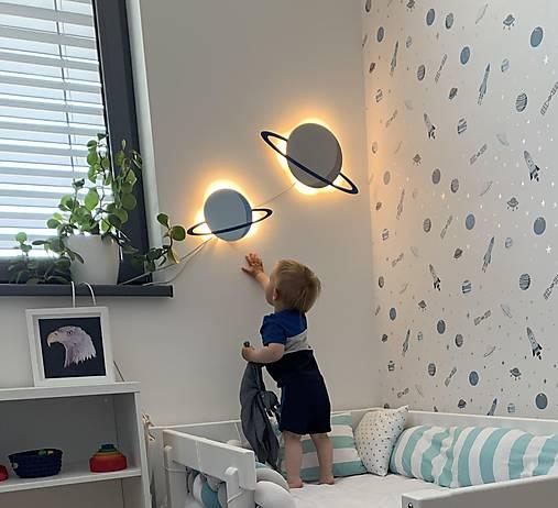 Detská drevená lampa - Planéta menšia