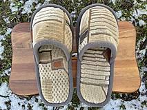 Obuv - Béžové papuče so vzorom a šedým lemom - 13051326_
