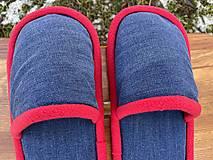 Obuv - Modré riflové papuče - 13051436_