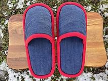 Obuv - Modré riflové papuče - 13051438_