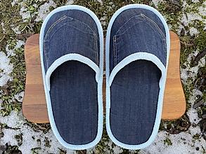 Obuv - Modré papuče z rifloviny s vreckom - 13049422_