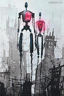 """Obrazy - """"Mestom nemestom, cestou necestou spolu...I."""" 30cm x 45cm REPRODUKCIA na plátne - 13047611_"""