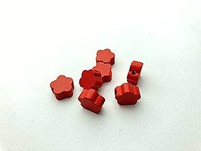 Galantéria - Drevené korálky kvietok (Červená) - 13048373_