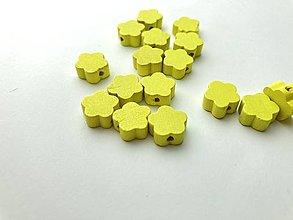 Galantéria - Drevené korálky kvietok (Žltá) - 13048375_
