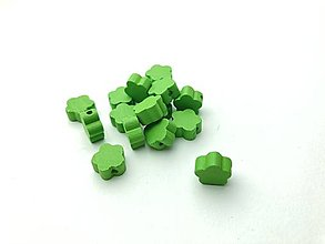 Galantéria - Drevené korálky kvietok (Zelená) - 13048381_