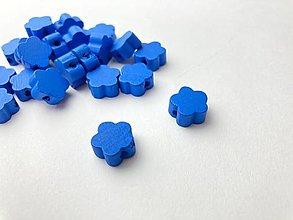Galantéria - Drevené korálky kvietok (Modrá) - 13048384_