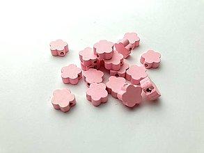 Galantéria - Drevené korálky kvietok (Ružová) - 13048390_