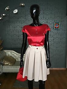 Šaty - Set: červený top béžová sukňa - 13053382_
