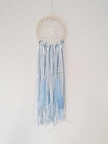 Dekorácie - Lapač snov 13cm modro-biely 1. - 13054765_