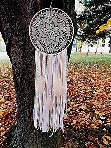 Dekorácie - Lapač snov 30cm krémovo-biely - 13054819_
