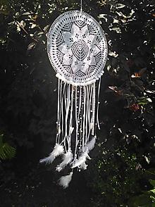 Dekorácie - Lapač snov 30cm biely - 13054825_