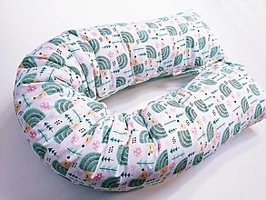 Textil - Tehotenský vankúš / Vankúš na dojčenie mentolový s ježkami - 13055855_