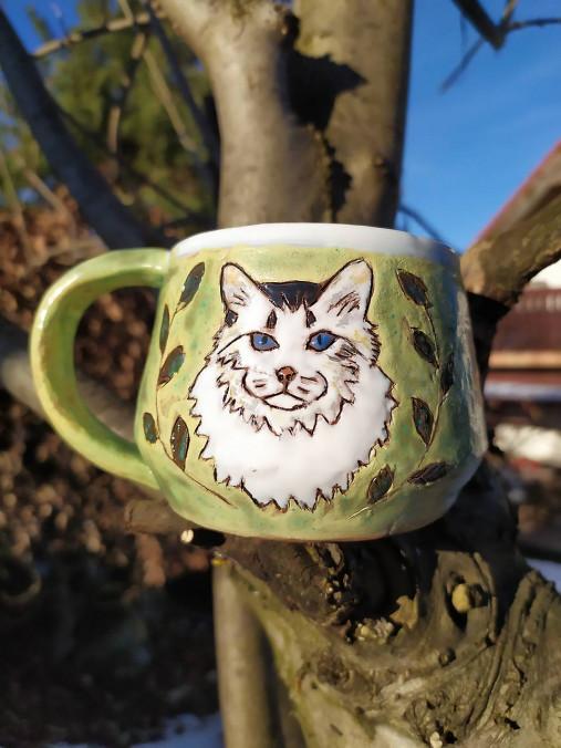 Keramická šálka -mačka