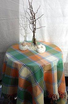 Úžitkový textil - Ľan. Veľký ľanový tkaný obrus zo strapcami. - 13054521_
