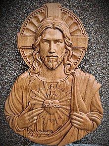 Dekorácie - Drevorezba Srdce Ježišovo (400 x 300x 35) - 13055932_