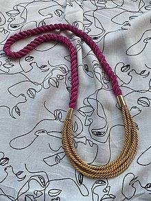 Náhrdelníky - Náhrdelník - malinová & hořčicová - 13056858_