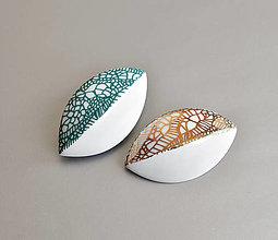 """Brošne - """"Leaves"""" porcelánová brož tyrkysová - petrolejová - 13056989_"""