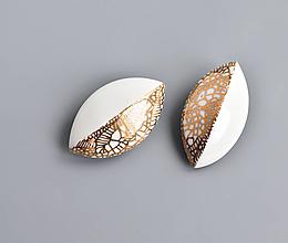 Brošne - Leaves porcelánová brož zlatá - 13057091_