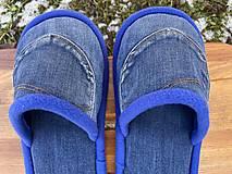 Obuv - Modré denim papuče s vreckom - 13053409_