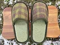 Obuv - Zelené papuče so štvorcami - 13053758_