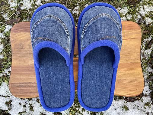Modré denim papuče s vreckom