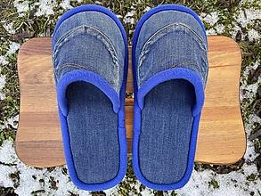 Obuv - Modré denim papuče s vreckom - 13053408_