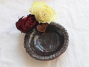 Nádoby - Malá miska so srdiečkom tmavohnedá - 13055715_