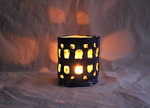 Svietidlá a sviečky - Keramický svietnik modrý - 13055812_