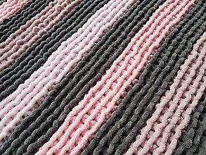 Textil - Ručně pletená žinylková deka pro miminko - pruhovaná (Šedá) - 13054995_
