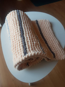 Textil - Ručně pletená žinylková deka pro miminko - pruhovaná (Oranžová) - 13055020_