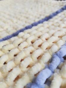 Textil - Ručně pletená žinylková deka pro miminko - pruhovaná (Žltá) - 13055044_