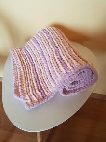 Textil - Ručně pletená žinylková deka pro miminko - pruhovaná (Fialová) - 13055051_