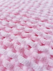 Textil - Ručně pletená žinylková deka pro miminko - pruhovaná (Ružová) - 13055058_