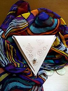 Peňaženky - Kožená peňaženka - béžová, trojuholník - 13054582_