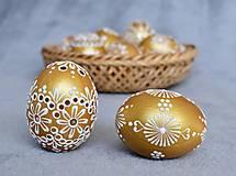 Dekorácie - Slepačia kraslica zlatá, čierna - 13056299_