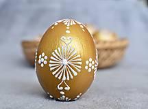 Dekorácie - Slepačia kraslica zlatá, čierna - 13056300_