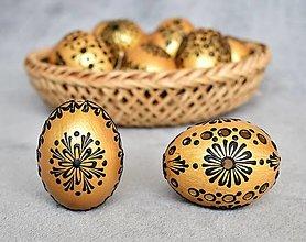 Dekorácie - Slepačia kraslica zlatá, čierna - 13056295_