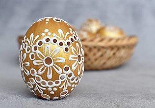 Dekorácie - Slepačia kraslica madeirová zlatá - 13057565_