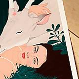 Grafika - Bílý jelen - umělecký tisk - 13060166_