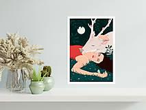 Grafika - Bílý jelen - umělecký tisk - 13060170_