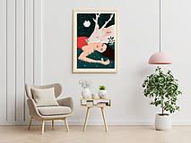 Grafika - Bílý jelen - umělecký tisk - 13060171_