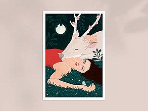 Grafika - Bílý jelen - umělecký tisk - 13060172_