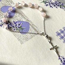 Náramky - Rosary Silver 925 Rose Quartz Bracelet / Strieborný ruženec na ruku alebo do auta s ruženínom - Ag 925 - 13058576_