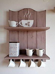 Nábytok - Polička - šálka na kávu hnedá - 13060684_