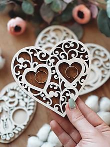 Prstene - Tanierik na obrúčky srdiečko ornament farebný - 13061337_